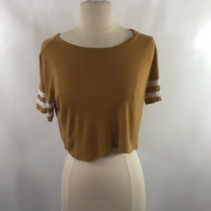 Gold crop top with white strips on arms
